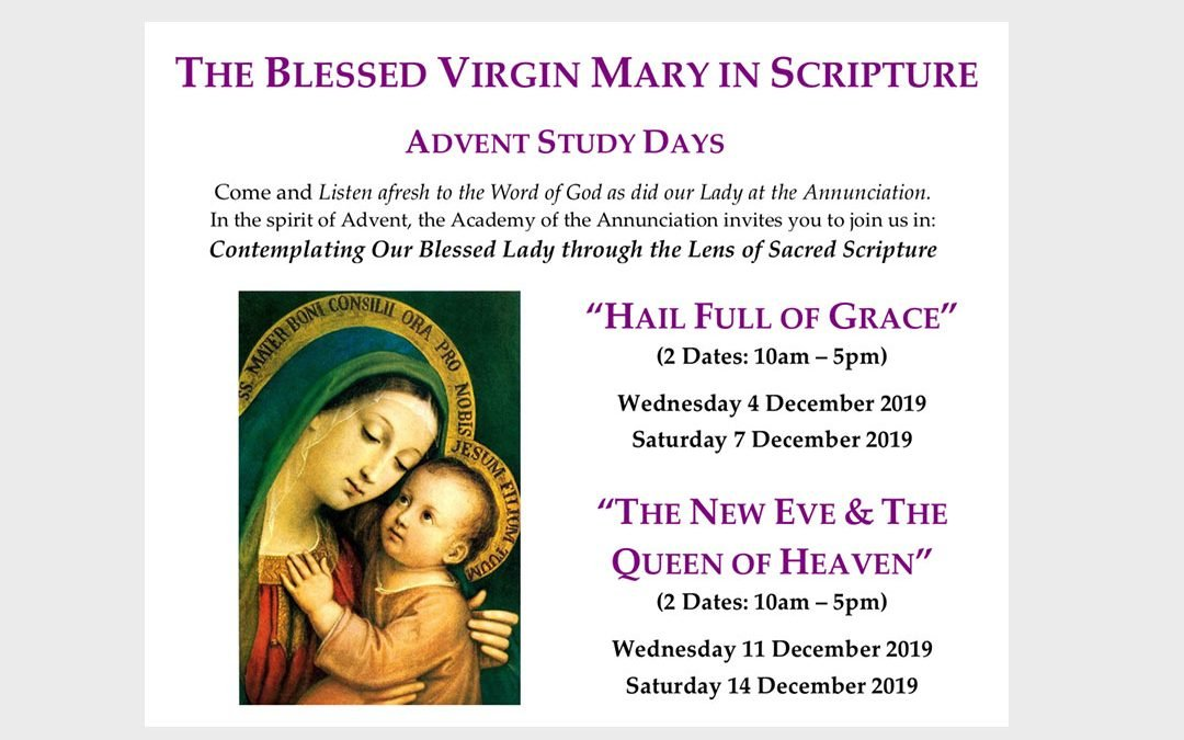 New Advent Study Days Announced